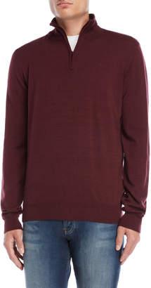 Serge Blanco Wool Quarter-Zip Sweater