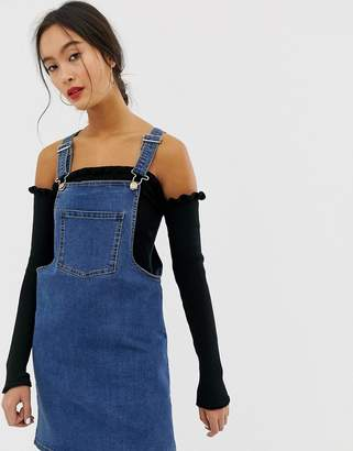 Only denim overall mini dress