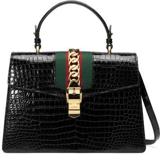 Gucci Sylvie medium crocodile top handle bag