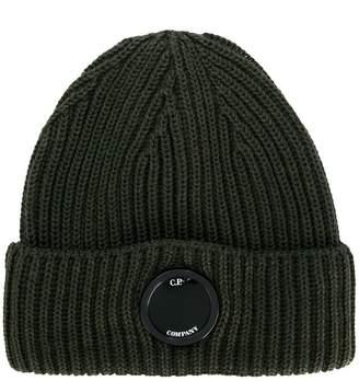 C.P. Company logo rib knit beanie