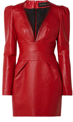 Alexandre Vauthier Leather Mini Dress - Red