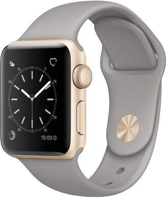 Apple Watch Series 2 38mm Gold-Tone Aluminum Case with Concrete Sport Band $369 thestylecure.com