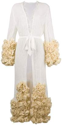 Yes Master ruffle-hem embroidered night-gown
