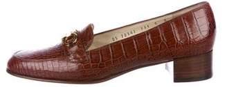 Salvatore Ferragamo Alligator Round-Toe Loafers