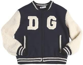 Dolce & Gabbana Wool Knit & Faux Shearling Bomber Jacket