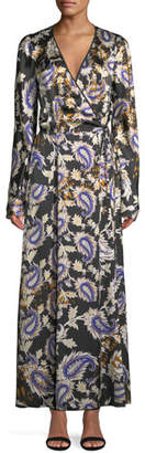 Forte Forte Silk Afrika-Print Long-Sleeve Wrap Dress