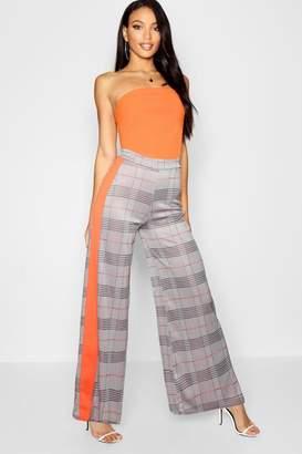 boohoo Contrast Side Stripe Check Wide Leg Trouser