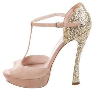 Miu Miu Glitter-Accented T-Strap Sandals