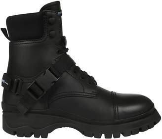 Prada Logo Detail Combat Boots