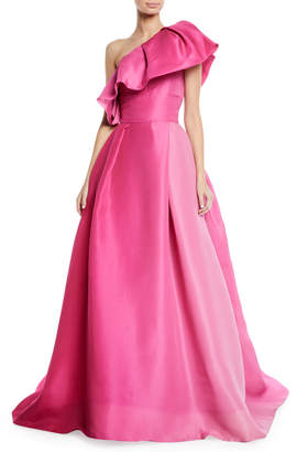 Monique Lhuillier One-Shoulder Ruffle-Neckline Ball Gown