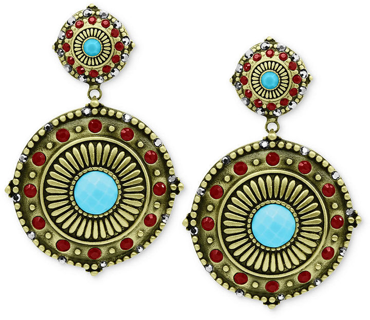Jill Zarin Earrings, Oxidized Brass Red and Turquoise-Colored Stone Disc Drop Earrings