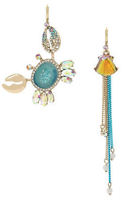 Betsey Johnson Sealife Crystal and Pearl Drop Earrings