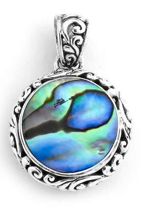 Samuel B Jewelry Sterling Silver Balinese Bezel Set Abalone Pendant
