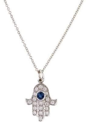 18K Sapphire & Diamond Hamsa Pendant Necklace