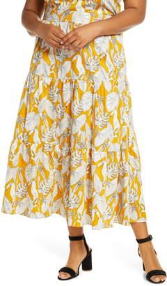 ELOQUII Tropical Print Tiered Cotton Maxi Skirt
