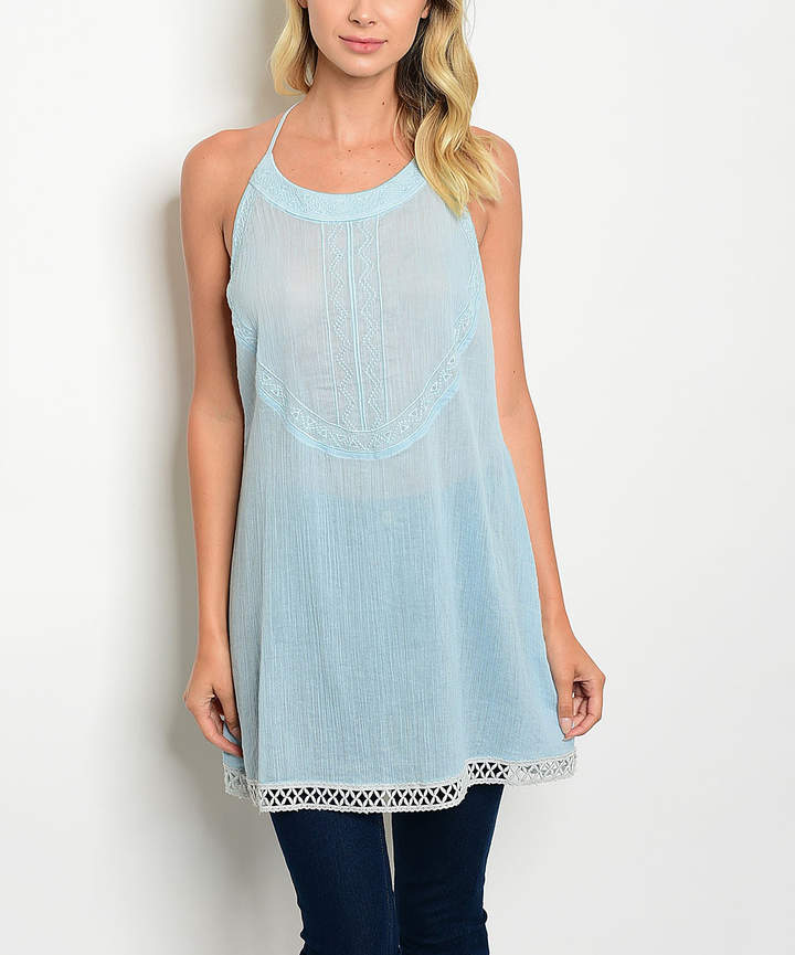 Sky Blue Lattice-Hem Halter Top - Women