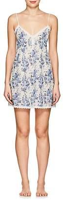 Barneys New York Women's Lace-Trimmed Floral Cotton Chemise - Rr Blue White Floral