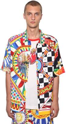 Dolce & Gabbana Oversized Allover Logo Printed Shirt
