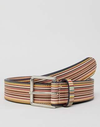 Paul Smith classic stripe leather belt in multi