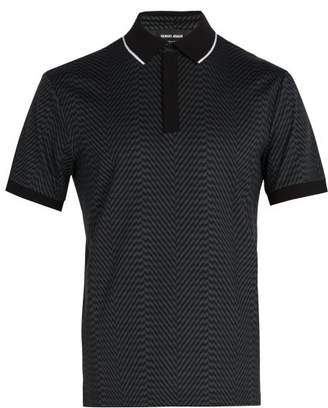 Giorgio Armani Zigzag Print Polo Shirt - Mens - Black Multi