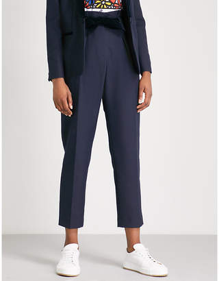 Claudie Pierlot Velvet-belt tapered woven-twill trousers