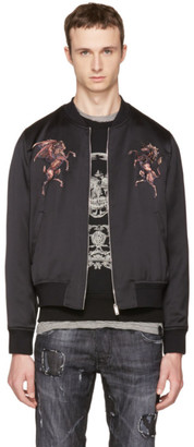 Alexander McQueen Black Embroidered Bomber Jacket $2,475 thestylecure.com