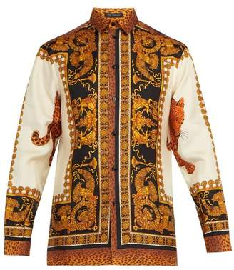 Versace - Baroque Leopard Print Silk Twill Shirt - Mens - Gold