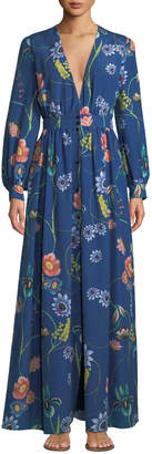 Borgo De Nor Francesca Deep-V Button-Front Long-Sleeve Floral-Print Maxi Dress