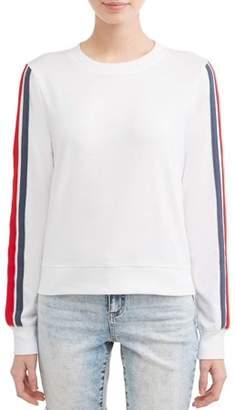Miss Cheivious Juniors' Varsity Stripe Pullover Sweatshirt
