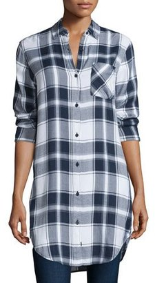 Rails Bianca Plaid Long-Sleeve Tunic, White/Navy/Fog $110 thestylecure.com