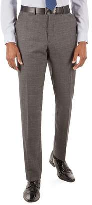 STVDIO BY JEFF BANKS Stvdio by Jeff Banks - Stvdio By Jeff Banks Grey Jaspe Windowpane Flat Front Ivy League Suit Trousers