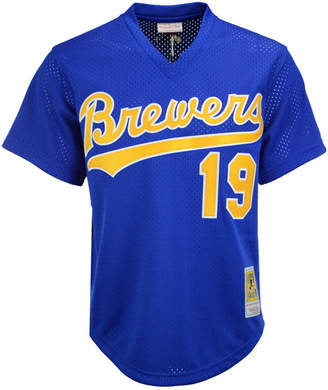 Mitchell & Ness Men Robin Yount Milwaukee Brewers Authentic Mesh Batting Practice V-Neck Jersey