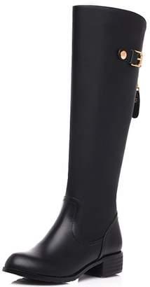 Nine Seven Genuine Leather Women's Round Toe Chunky Heel Wide Calf Handmade Knee High Boot (5.5, )