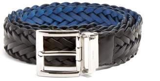 Prada Reversible Braided Leather Belt - Mens - Blue Multi