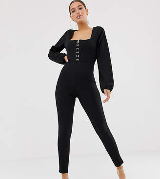 Missguided square neck hook and eye lace trim jumpsuit in black