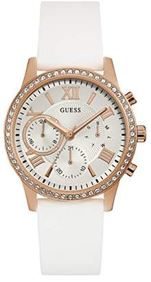 GUESS Women's Quartz Stainless Steel and Silicone Casual Watch