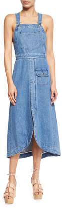 See by Chloe Denim Overall Midi Dress, Washed Indigo $395 thestylecure.com