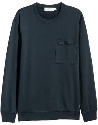 H&M Sweatshirt with Chest Pocket - Blue
