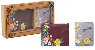 Mantaray Purple Floral Embroidered Coin Purse And Card Holder Set In A Gift Box