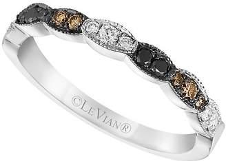 LeVian Le Vian Women's Vanilla Diamond, Chocolate Diamond, Blackberry Diamond and 14K White Gold Ring, 0.26 TCW