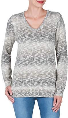 Haggar Petite Ombre V-Neck Sweater