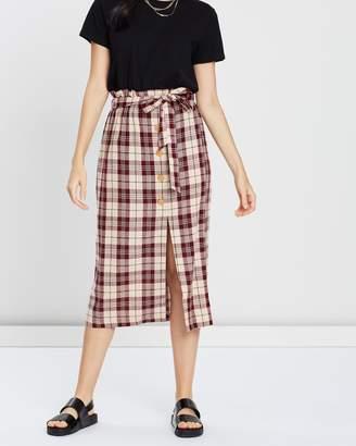 Miss Selfridge Check Midi Skirt