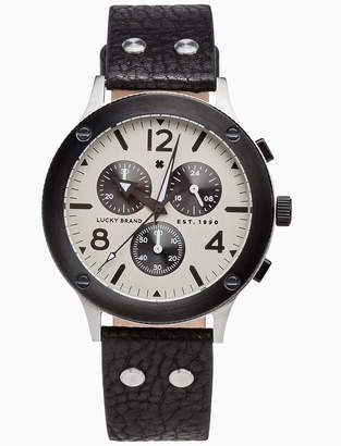 Lucky Brand ROCKPOINT MULTI-FUNCTION BLACK LEATHER WATCH, 42MM