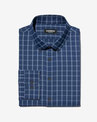 Express Slim Plaid Button-Down Wrinkle-Resistant Performance Dress Shirt