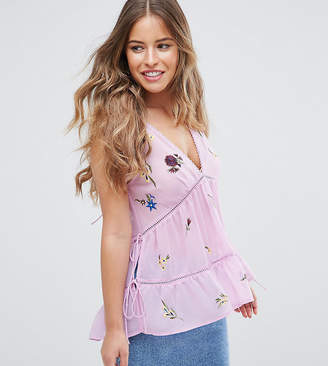 Asos Sleeveless Embroidered Top with Lace up Back