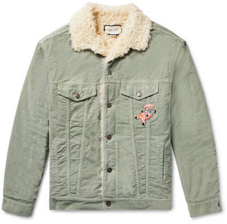 Gucci Oversized Faux Shearling-Lined Embroidered Stretch Cotton-Corduroy Trucker Jacket - Light green