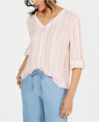 Style&Co. Style & Co Petite Striped Roll-Tab-Sleeve Shirt
