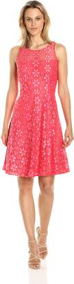 Nine West Women's Princess Seam Floral Lace Dress W/Flared Bottom