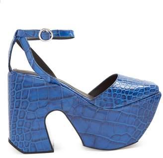 Marques Almeida MARQUES'ALMEIDA Crocodile-effect leather platform sandals