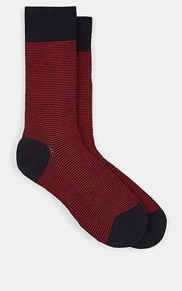Barneys New York Men's Striped Cotton-Blend Mid-Calf Socks - Lt. Blue